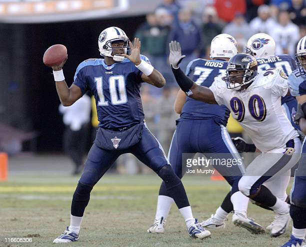 Titans rookie quarterback Vince Young throws a pass versus Baltimore at LP Field Nashville Tennessee November 12 2006 The Ravens came from behind to...