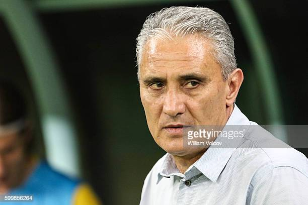 Tite Coach of Brazil during a match between Brazil and Colombia as part of FIFA 2018 World Cup Qualifiers at Arena Amazonia Stadium on September 06...