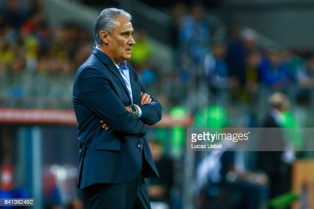 Tite coach of Brazil during the match Brazil v Equador 2018 FIFA World Cup Russia Qualifier at Arena do Gremio on August 31 in Porto Alegre Brazil