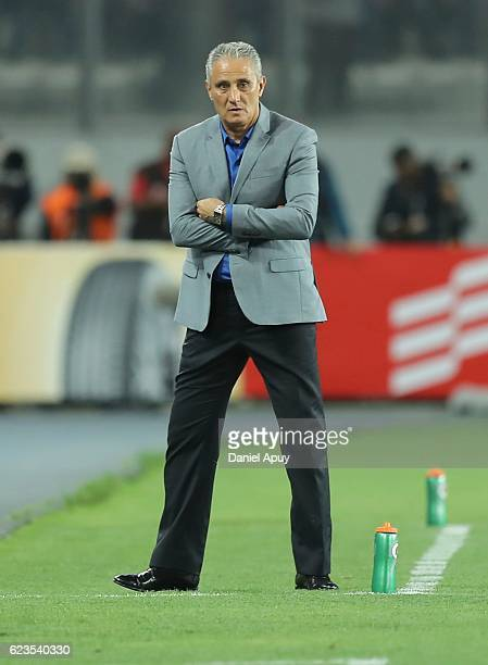 Tite coach of Brazil looks on during a match between Peru and Brazil as part of FIFA 2018 World Cup Qualifiers at Nacional Stadium on November 15...