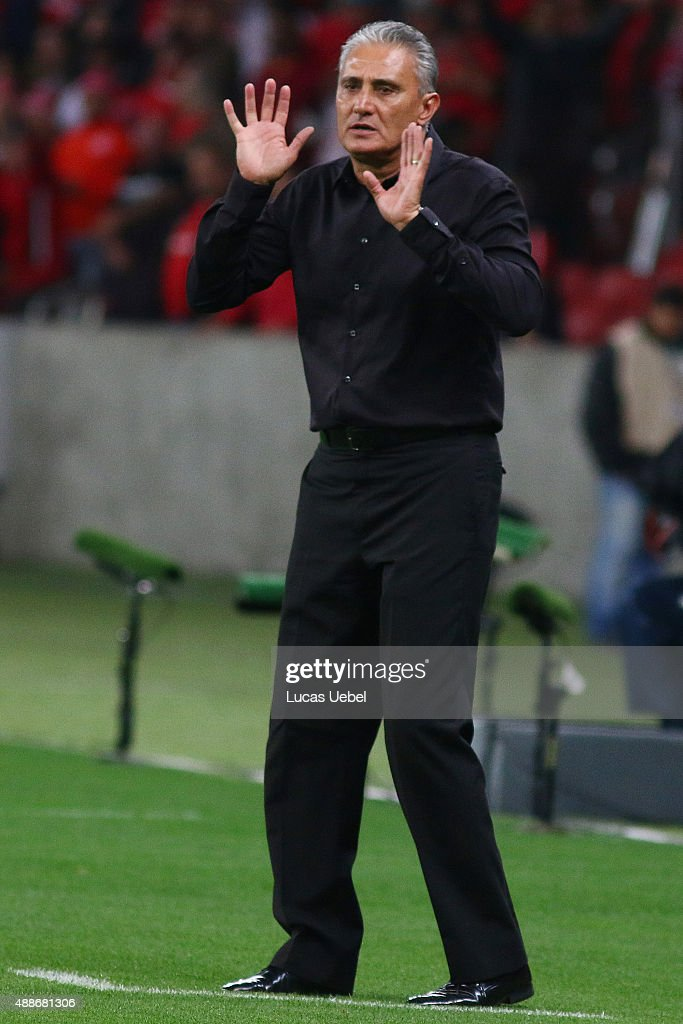 <a gi-track='captionPersonalityLinkClicked' href=/galleries/search?phrase=Tite+-+Brazilian+Soccer+Manager&family=editorial&specificpeople=10072994 ng-click='$event.stopPropagation()'>Tite</a> coach of Corinthians during the match between Internacional and Corinthians as part of Brasileirao Series A 2015, at Estadio Beira-Rio on September 16, 2015, in Porto Alegre, Brazil.