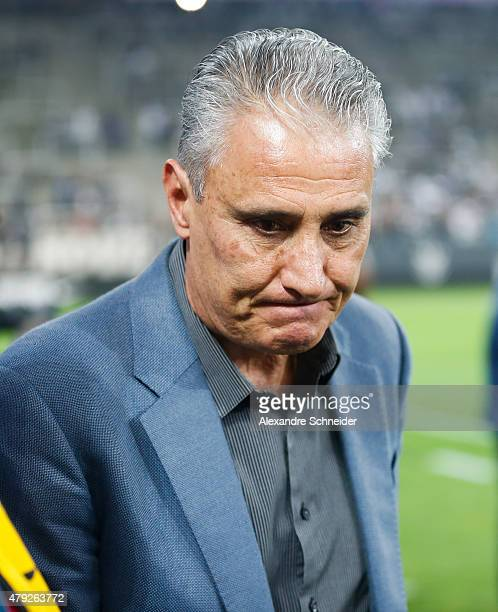 Tite coach of Corinthians in action during the match between Corinthians and Ponte Preta for the Brazilian Series A 2015 at Arena Corinthians stadium...