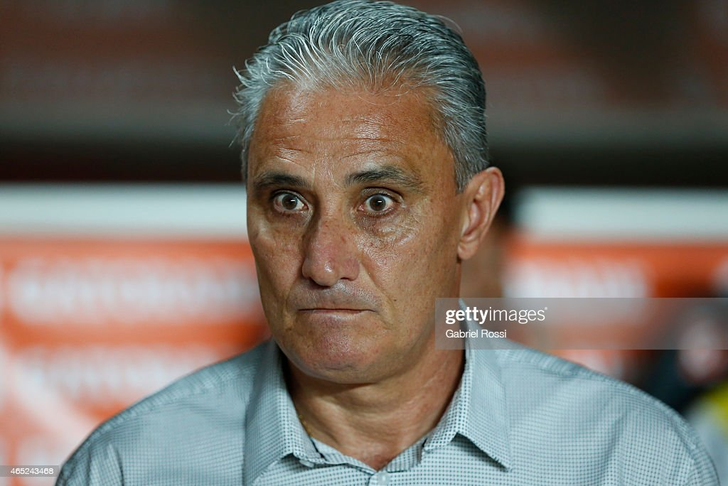 Tite coach of Corinthians looks on during a match between San Lorenzo and Corinthians as part of Copa Bridgestone Libertadores 2015 at Pedro Bidegain Stadium on March 04, 2015 in Buenos Aires, Argentina.