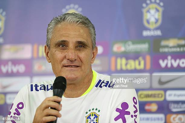 Tite during a press conference at Metropolitano Stadium on October 10 2016 in Merida Venezuela Part of FIFA 2018 World Cup Qualifiers on October 06...