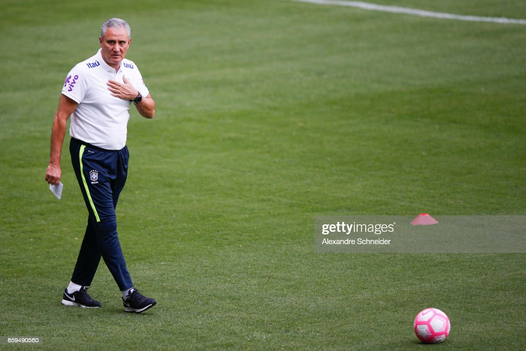 Tite, head coach of Brazil looks on during the Brazil training session for 2018 FIFA World Cup Russia Qualifier match against Chile at Allianz Parque Stadium on October 09, 2017 in Sao Paulo, Brazil.