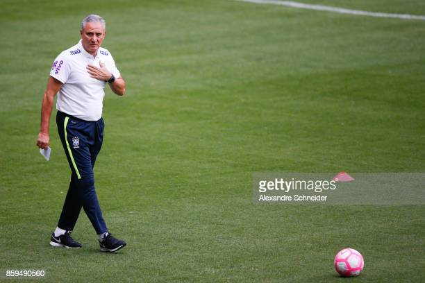 Tite head coach of Brazil looks on during the Brazil training session for 2018 FIFA World Cup Russia Qualifier match against Chile at Allianz Parque...