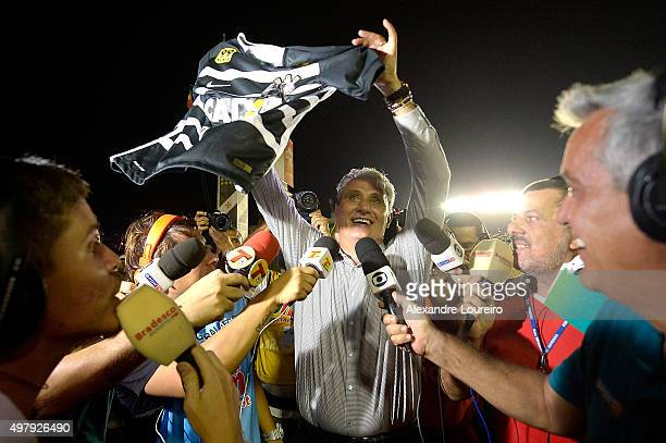 Tite head coach of Corinthians celebrates the sixth title of Brazilian championship after the match between Vasco and Corinthians as part of...