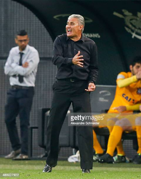 Tite head coach of Corinthians in action during the match between Corinthians and Cruzeiro for the Brazilian Series A 2015 at Arena Corinthians...