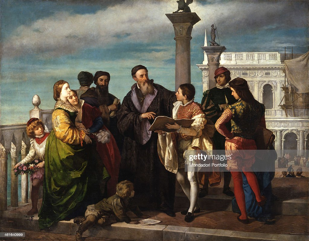 Titian meets the young <a gi-track='captionPersonalityLinkClicked' href=/galleries/search?phrase=Veronese&family=editorial&specificpeople=79911 ng-click='$event.stopPropagation()'>Veronese</a> on Ponte della Paglia, by Antonio Zona, 1857 - 1861, 19th Century, canvas. Italy, Veneto, Venice, Accademia Galleries. Whole artwork view. The two painters meeting, among people in venetian 16th century dresses; in the background, the lion's column and the Procuratie.