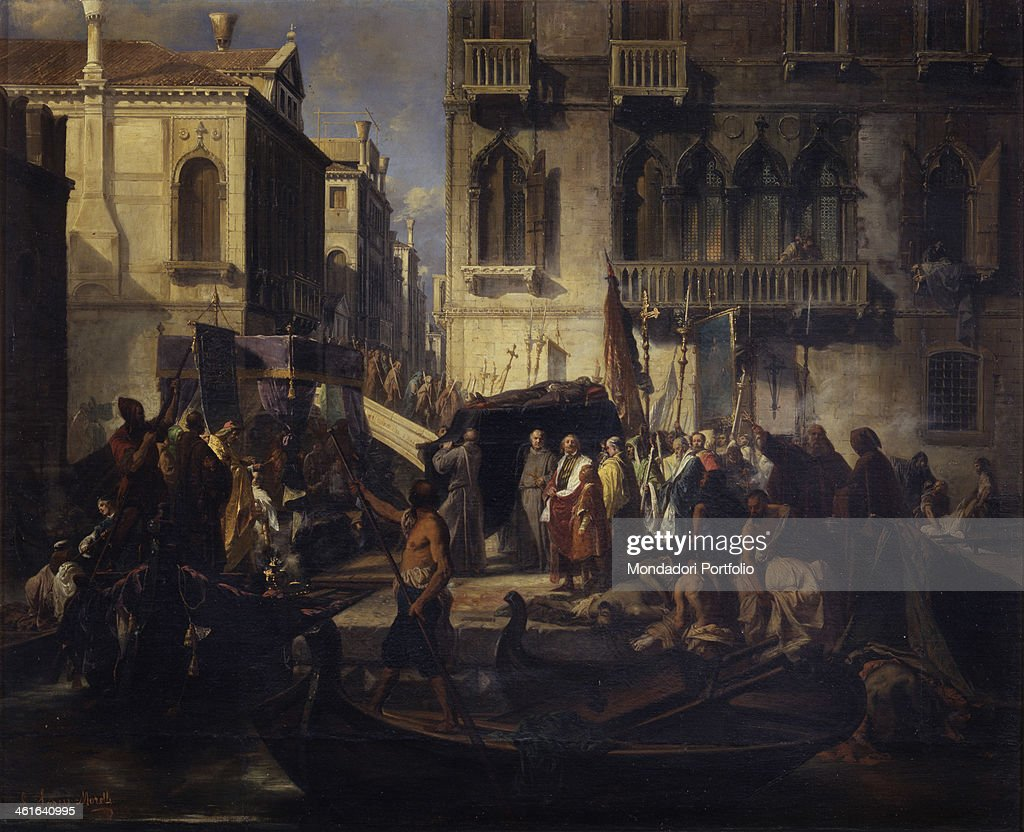Titian's Funeral, by Larese Giuseppe Moretti, 1858, 19th Century, canvas. Private collection. Whole artwork view. Typical venetian scene.
