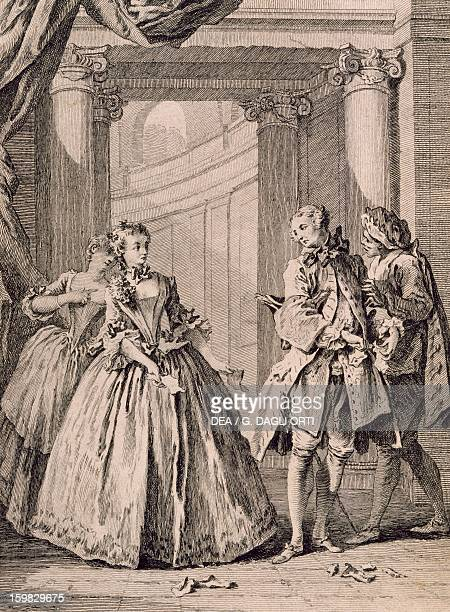 Title page for Spite of love comedy by Moliere engraving by Laurent Cars from an illustration by Francois Boucher Paris Bibliothèque Des Arts...