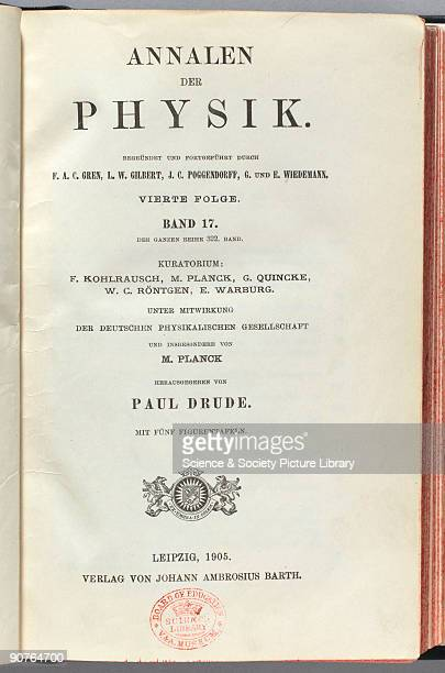 Title page from volume 17 of the 4th series of Annalen der Physik published in Leipzig in 1905 This peridiocal the main German journal for physics...