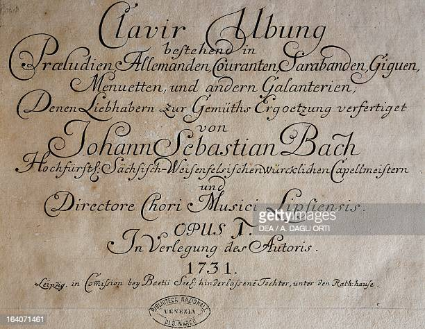 Title page of a collection of works for harpsichord by Johann Sebastian Bach edition published in Leipzig in 1731 Venice Biblioteca Nazionale Marciana