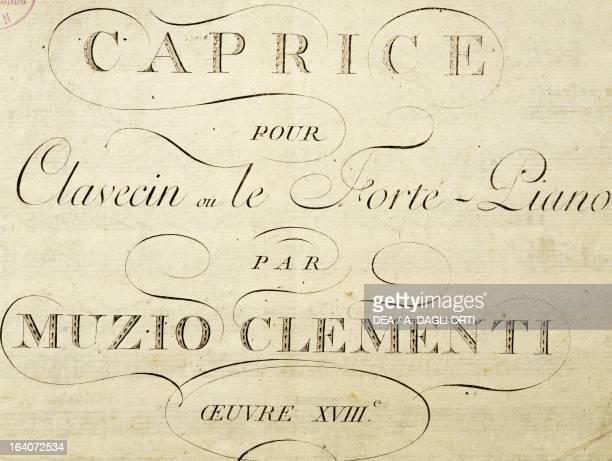 Title page of Capriccio for harpsichord by Muzio Clementi Vienna Gesellschaft Der Musikfreunde