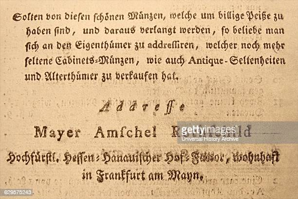 title page of coin catalogue belonging to Baron Amschel Meyer von Rothschild was a German Jewish banker of the Rothschild family financial dynasty