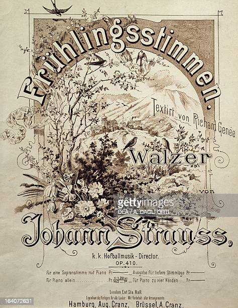 Title page of Fruhlingsstimmen Walzer Opus 410 by Johann Strauss Vienna Gesellschaft Der Musikfreunde