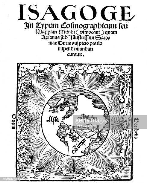 Title page of Isagoge in Typum Cosmographicum seu Mappam Mundi by Peter Apian 1523 The page is illustrated with a map centred on the Mediterranean...