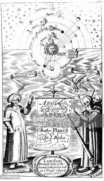 Title page of John Wilkins 'A Discourse Concerning a New World Another Planet' London 1683 Copernicus Galileo and Kepler represented in bottom corners