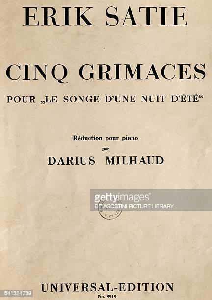 Title page of piano reduction for a Midsummer night's dream by Erik Satie by Darius Milhaud opera in eight scenes France 20th century Praga Prazska...