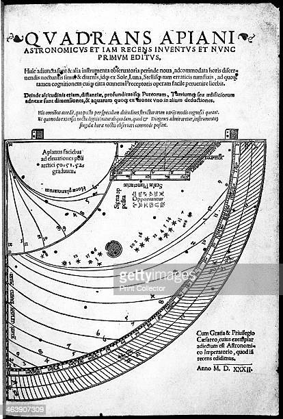 Title page of Quadrans Apiani by German mathematician and astronomer Peter Apian 1532 The illustration shows his recently invented quadrant Apian...