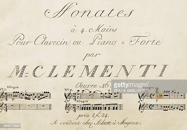 Title page of Sonata for four hands by Muzio Clementi Vienna Gesellschaft Der Musikfreunde