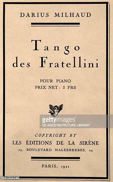 Title page of Tangos des Fratellini by Darius Milhaud France 20th century Praga Prazska Konzervator
