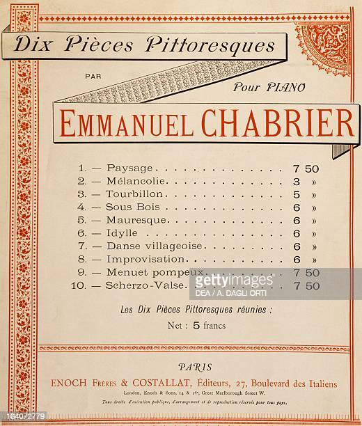 Title page of the Collection of ten pieces for piano picturesque Emmanuel Chabrier Praga Prazska Konzervator