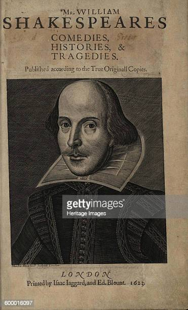 Title page of the First Shakespeare's Folio 1623 Found in the collection of The Phillips Collection Washington DC Artist Droeshout Martin