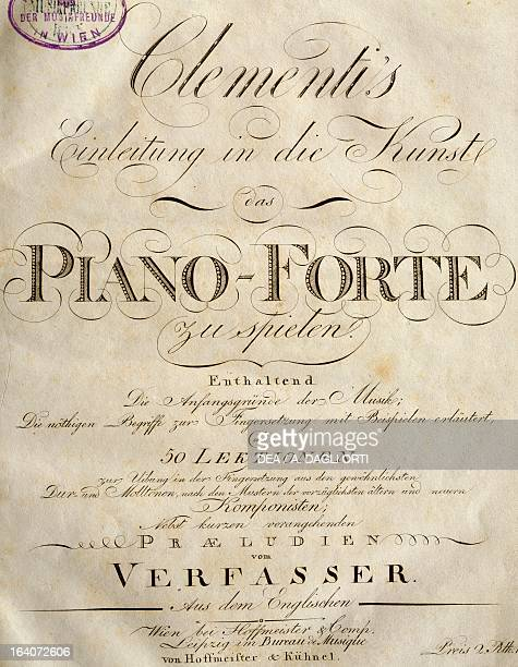 Title page of the Introduction to the Art of Playing the Piano by Muzio Clementi Vienna Gesellschaft Der Musikfreunde
