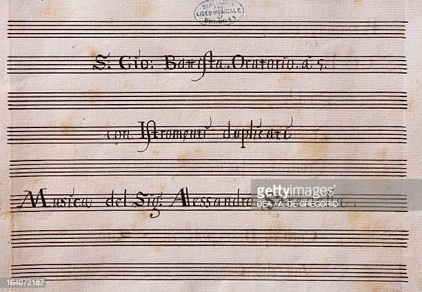 Title page of the Oratorio of Saint John the Baptist by Alessandro Stradella Bologna Civico Museo Bibliografico Musicale