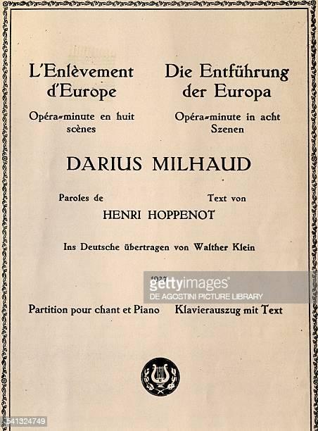 Title page of The Rape of Europa by Darius Milhaud opera in eight scenes France 20th century Praga Prazska Konzervator