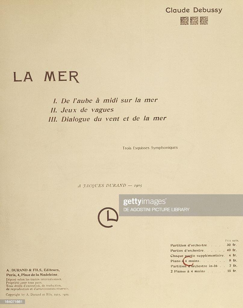 Title page of the score for La Mer by Claude Debussy Original edition 1905 Paris Bibliothèque Nationale De France