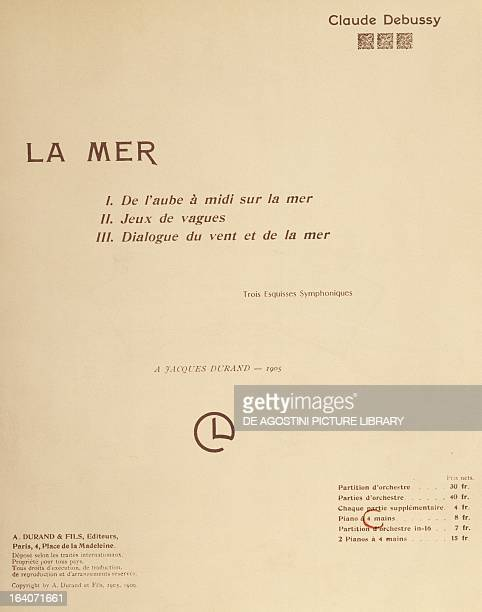 Title page of the score for La Mer by Claude Debussy Original edition 1905 Paris Bibliothèque Nationale De France