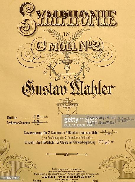 Title page of the score for Symphony No 2 in C minor 18881894 by Gustav Mahler Vienna Gesellschaft Der Musikfreunde