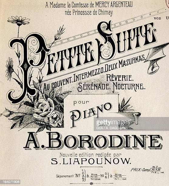 Title page of the score for the Little suite by Aleksandr Borodin with a dedication to Countess Mercy Argentau Bessel and Co editions Vienna...