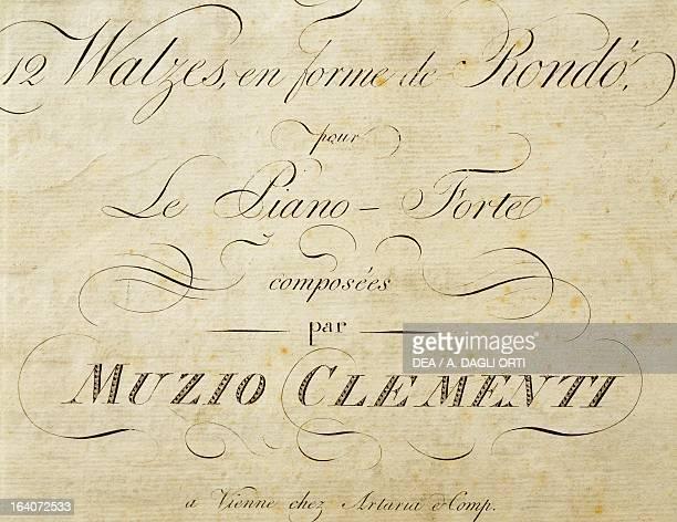 Title page of Waltz as a rondeau for piano by Muzio Clementi Vienna Gesellschaft Der Musikfreunde