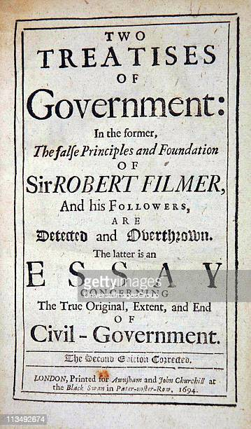 Title page 'Two Treatises of Government ' John Locke 2nd edition 1694 First attack on Divine Right of Kings Second dealing with Rights of Man Locke...