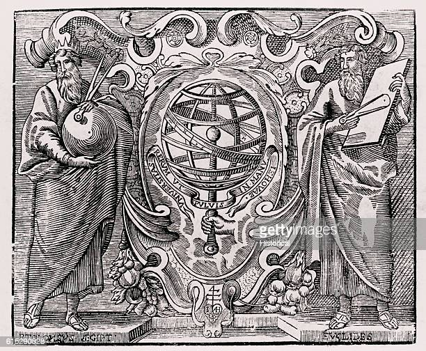 A title page vignette depicts Ptolemy a Greek astronomer and geographer and Euclid a Greek matematician and physicist holding compasses with a sphere...