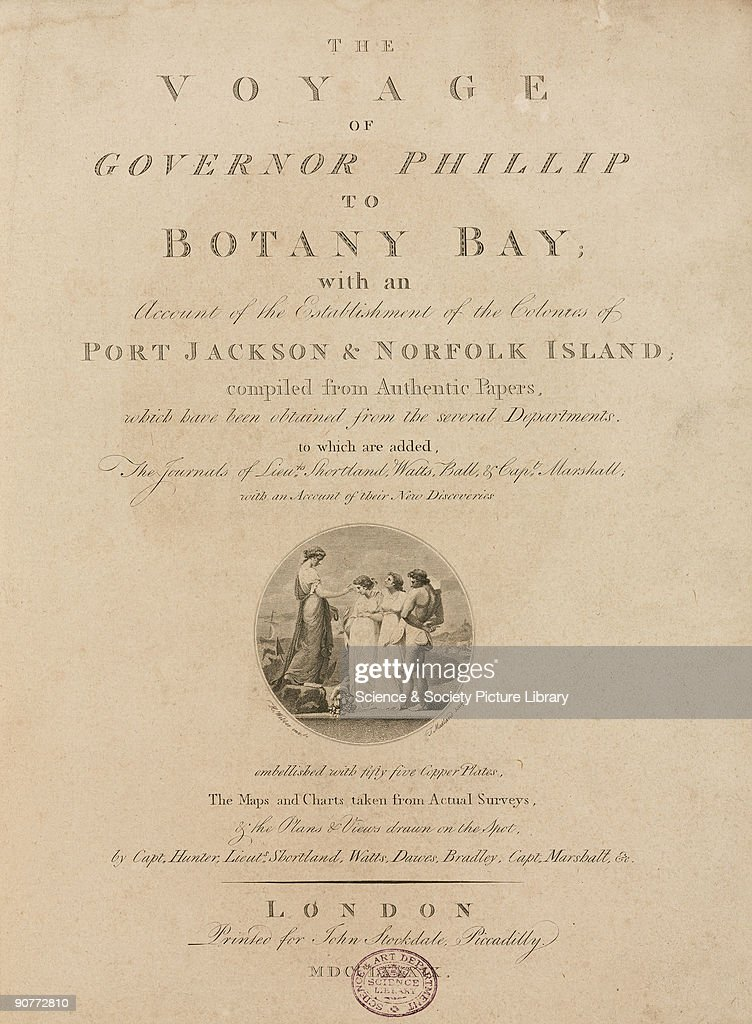 Title page with engraved vignette by T Medland probably representing allegorical figures In 1787 Arthur Phillip commanded the �First Fleet� carrying...