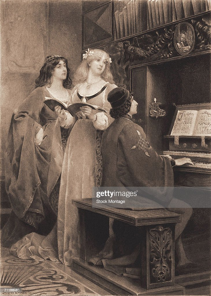 Titled 'Musical entertainment in the Middle Ages' a colorized print engraving shows two women a song book in the hands of one as they listen to a man...