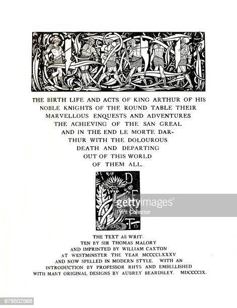 TitlePage Designed by Aubrey Beardsley for Messrs J M Dent and Sons Ltd' Illustrated edition of 'Le Morte d'Arthur' by Thomas Malory a reworking of...