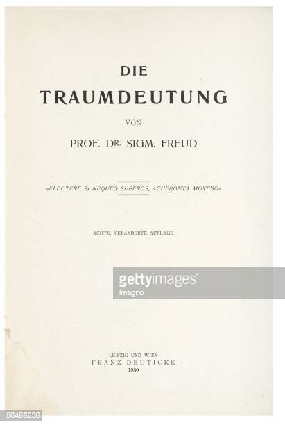 Titlepage 'The Interpretation of Dreams' Author Sigmund Freud First edition 1900 [Titelblatt 'Die Traumdeutung' Autor Sigmund Freud Erstausgabe 1900]