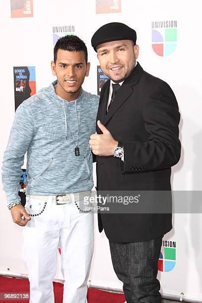 Tito el Bambino and Poncho Lizarraga arrive at recording of 'Somos El Mundo' 'We Are The World' by Latin recording artits at American Airlines Arena...