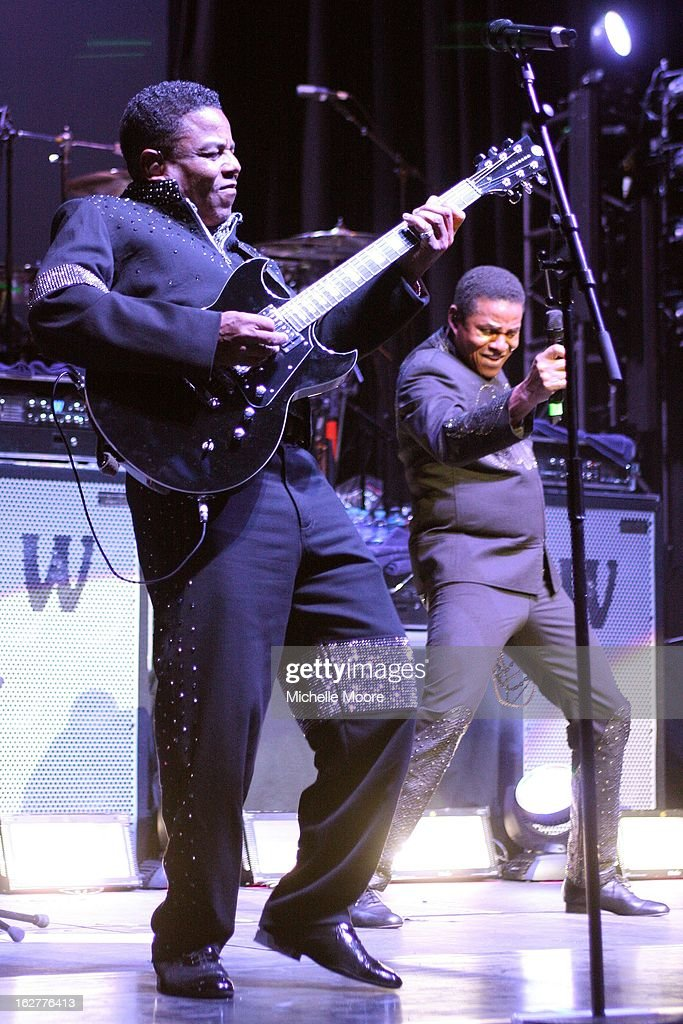 Tito Jackson and Jackie Jackson perform at NIA Arena on February 26, 2013 in Birmingham, England.