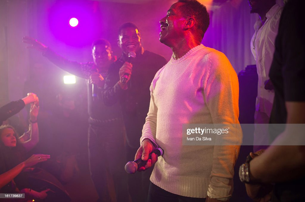 Tito Jackson, Jackie Jackson and Marlon Jackson of The Jacksons perform with Wyclef Jean at Cafe Opera on February 14, 2013 in Stockholm, Sweden.