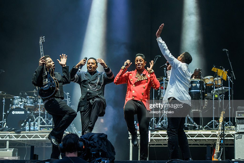 Tito Jackson Jackie Jackson Jermain Jackson and Marlon Jackson of The Jacksons performs on day 4 of Bestival at Robin Hill Country Park on September...