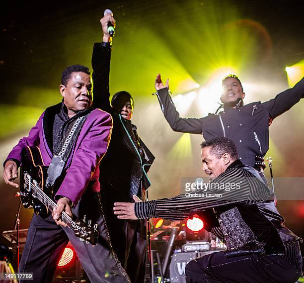 Tito Jackson Jackie Jackson Jermaine Jackson and Marlon Jackon perform at The Greek Theatre on July 22 2012 in Los Angeles California