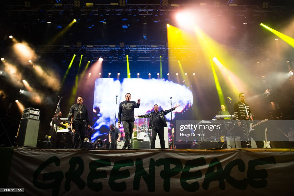 Tito Jackson, Jackie Jackson, Marlon Jackson and Jermaine Jackson from The Jacksons performs on the West Holts Stage on day 3 of the Glastonbury Festival 2017 at Worthy Farm, Pilton on June 24, 2017 in Glastonbury, England.