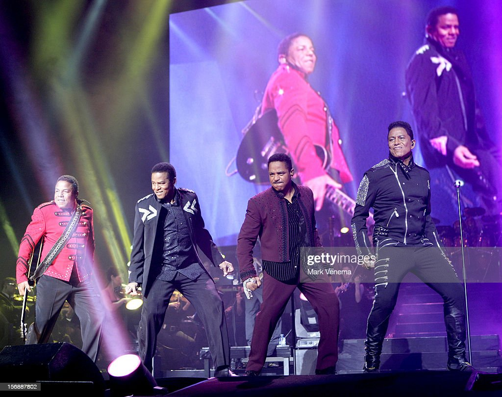 Tito Jackson, Jackie Jackson, Marlon Jackson and Jermaine Jackson of The Jacksons perform at Night Of The Proms at Ahoy on November 23, 2012 in Rotterdam, Netherlands.