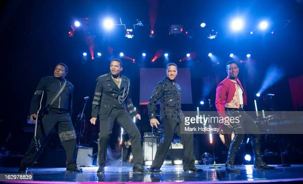 Tito Jackson Jackie Jackson Marlon Jackson and Jermaine Jackson of The Jacksons perform on stage at BIC on March 2 2013 in Bournemouth England